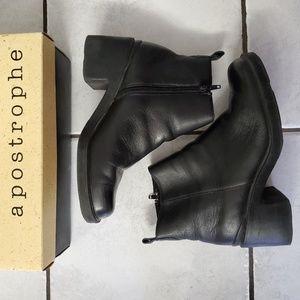 Vintage Apostrophe Black Ankle Boots 8.5